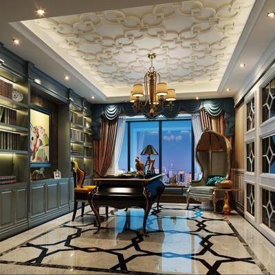 书房, 书桌, 单人椅, 书柜, 装饰柜, 实际, 吊灯, 摆件, 装饰品, 欧式