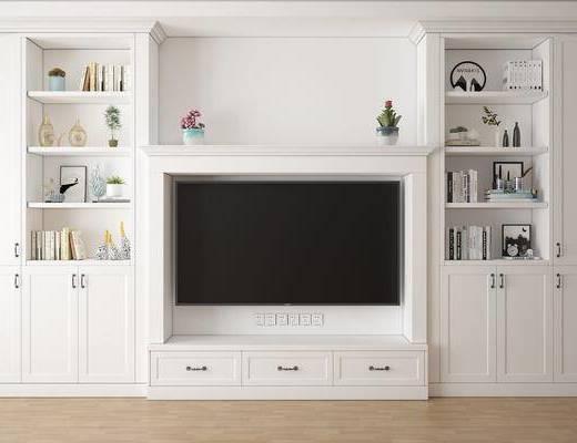 电视柜, 书柜组合, 书籍, 盆栽, 花卉, 摆件, 装饰品, 陈设品, 简欧
