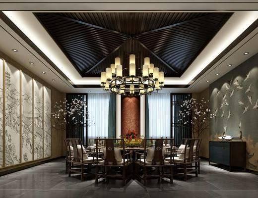 餐厅, 餐桌, 餐椅, 单人椅, 吊灯, 边柜, 装饰画, 挂画, 盆栽, 花卉, 新中式