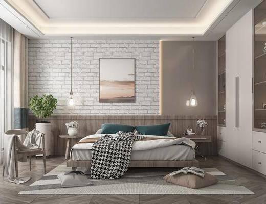 双人床, 吊灯, 装饰画, 床头柜, 衣柜, 单椅, 地毯
