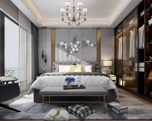 现代卧室, 床具, 双人床, 墙饰, 吊灯, 衣柜, 床头柜, 台灯, 现代吊灯, 现代台灯, 床尾踏, 边几, 单人椅