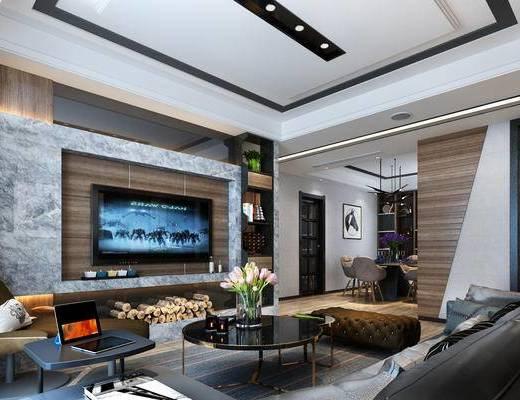 港式, 现代客厅, 客厅, 现代沙发, 沙发组合, 沙发茶几组合, 现代, 沙发, 茶几, 电视柜
