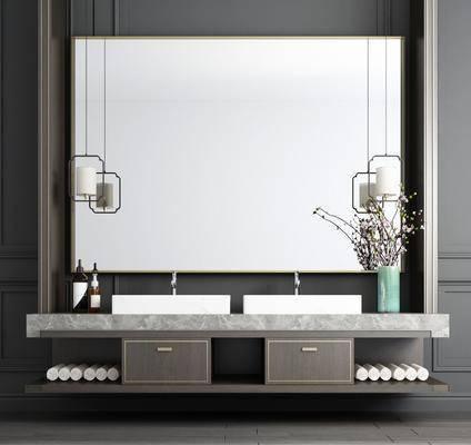 洗手台, 吊灯, 花瓶花卉, 摆件, 装饰品, 陈设品, 新中式