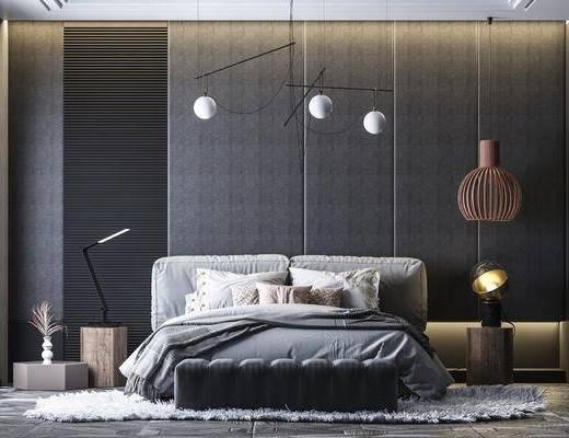 双人床, 吊灯, 床头柜, 床尾踏, 地毯, 台灯