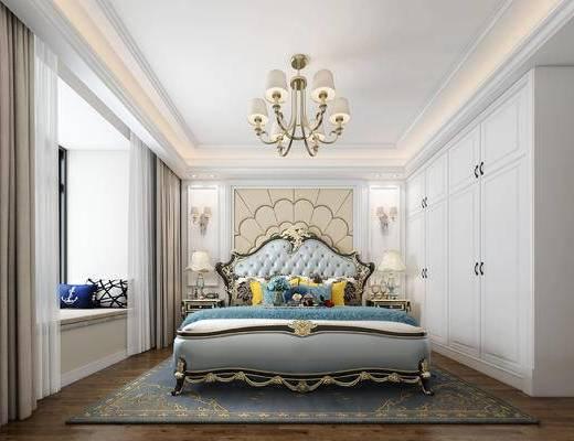 卧室, 欧式卧室, 床具组合, 软包, 床头柜, 台灯, 吊灯, 衣柜, 壁灯, 欧式