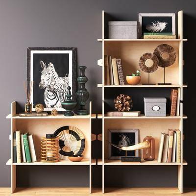 装饰柜, 摆件组合, 书架, 书籍