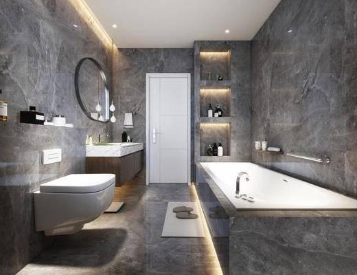 现代, 卫生间, 洗手台, 马桶, 浴缸, 镜子