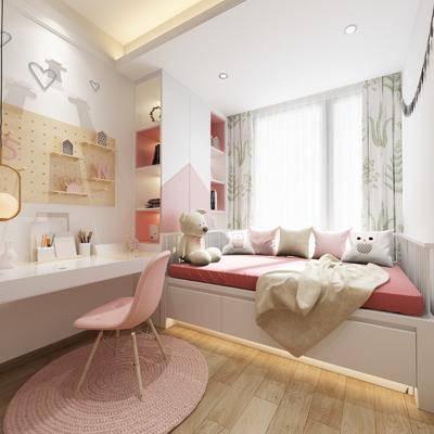 现代女儿房, 女儿房, 儿童房, 单人床