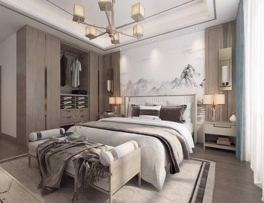 双人床, 背景墙, 衣柜, 吊灯, 床尾踏, 床头柜, 壁灯, 窗帘