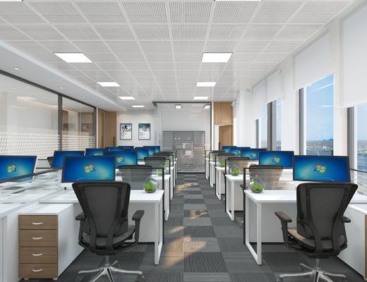 空间, 办公, 商务, 走廊, 工作, 电脑, 老板室