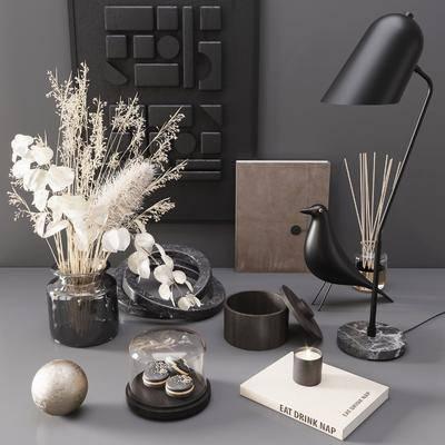 现代, 花瓶, 台灯, 单品, 饰品, 摆件