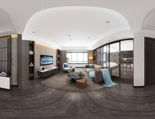 现代, 后现代, 客厅, 沙发, 沙发组合, 电视柜, 单人沙发, 茶几