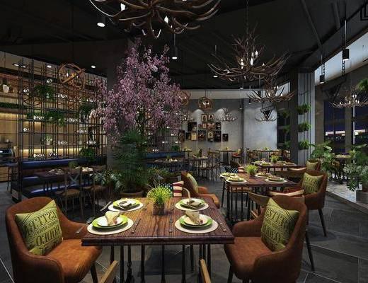 餐厅, 餐桌, 餐椅, 单人椅, 前台, 装饰架, 餐具, 吊灯, 盆栽, 树木, 墙饰, 植物墙, 工业风