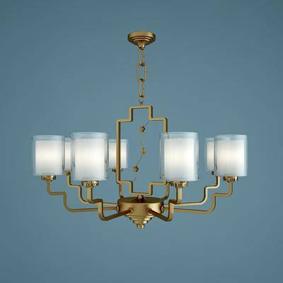 金属吊灯, 吊灯, 灯具, 后现代, 新中式