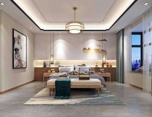 双人床, 吊灯, 装饰画, 背景墙, 地毯, 窗帘