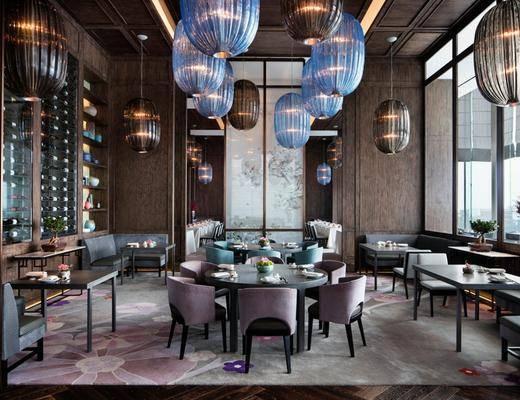 主题餐厅, 餐桌, 单椅, 吊灯, 酒柜, 新中式