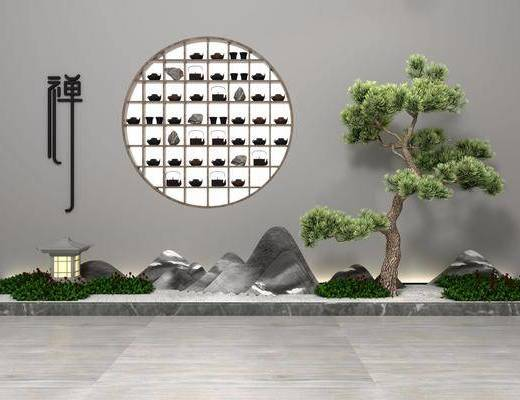 园艺小品, 新中式园艺小品, 树木, 植物, 绿植, 新中式