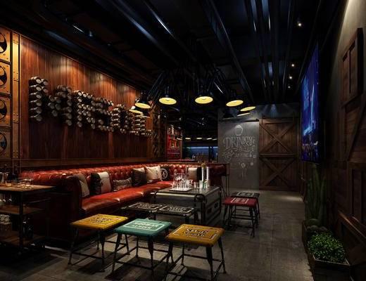 酒吧, 工业风, 汽车, 吧台, 吧椅, 桌椅, 现代