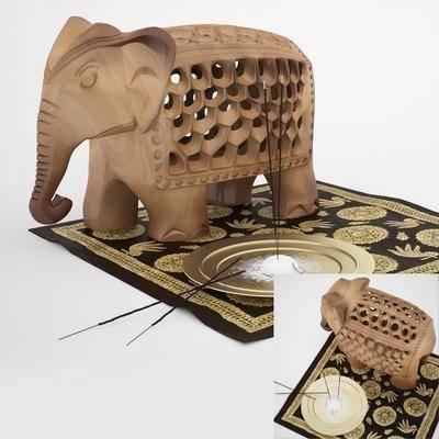 雕塑, 大象, 地毯, 木艺, 现代