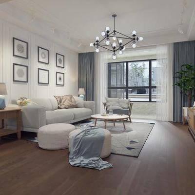 北欧客厅, 现代客厅, 沙发组合, 沙发茶几组合, 电视柜, 多人沙发
