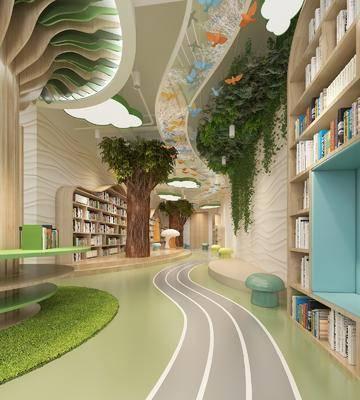 现代幼儿园, 现代图书馆, 幼儿园, 图书馆, 书架, 书本, 椅子