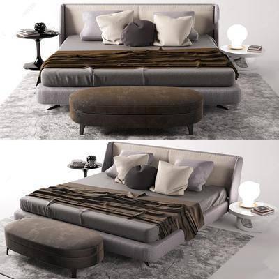 床头柜, 灯具, 摆件组合, 双人床, 床具组合
