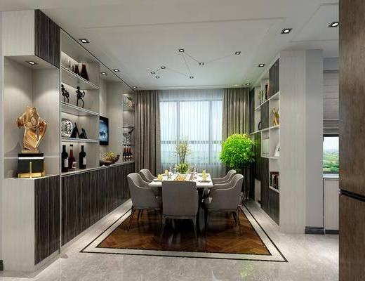 餐厅, 餐桌, 餐椅, 单人椅, 吧台, 餐具, 装饰柜, 盆栽, 摆件, 装饰品, 陈设品, 现代