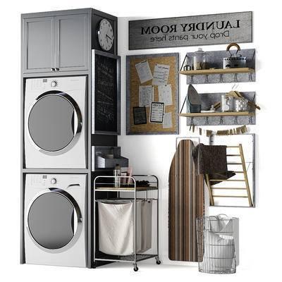 洗衣机, 置物架, 储物柜, 手推车, 烫衣板, 毛巾, 生活用品, 摆件, 现代