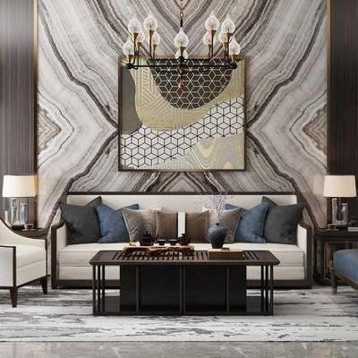 中式沙发组合, 茶几, 吊灯, 壁灯, 新中式, 沙发组合, 沙发茶几组合