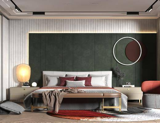 双人床, 背景墙, 墙饰, 单椅, 床头柜, 台灯, 衣柜