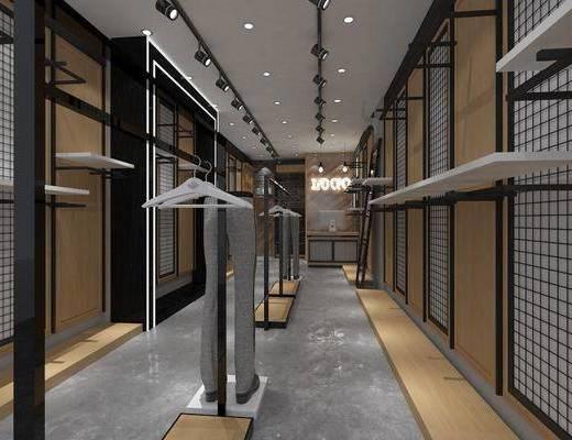 服装店, 衣架, 前台, 射灯, 吊灯, 装饰架, 服饰, 现代