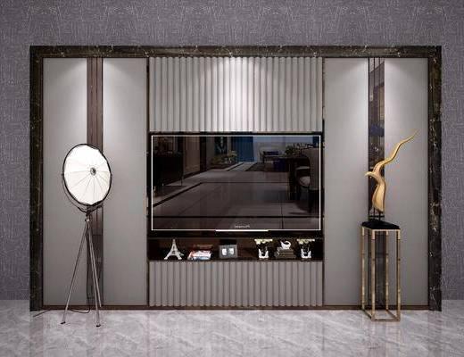 现代电视背景墙, 北欧电视背景墙, 后现代电视背景墙, 现代装饰品, 电视墙, 背景墙, 端景台, 陈设品, 电视柜