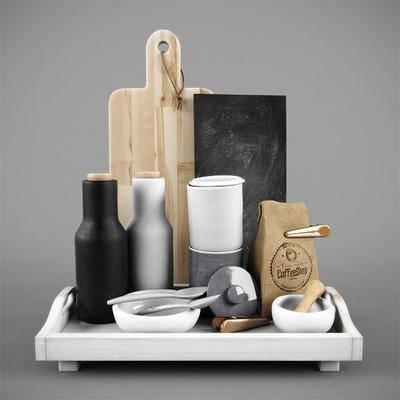 厨具, 厨具组合, 砧板, 菜刀, 勺子, 现代