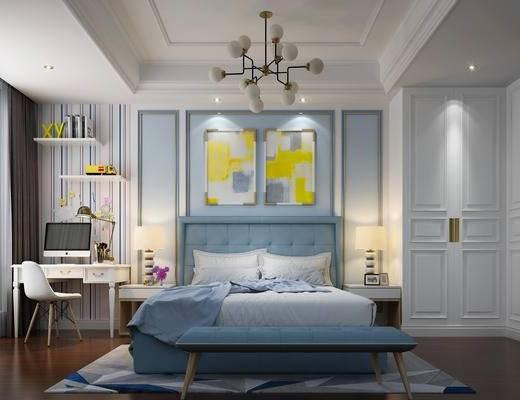 简欧, 卧室, 双人床, 灯具, 书桌