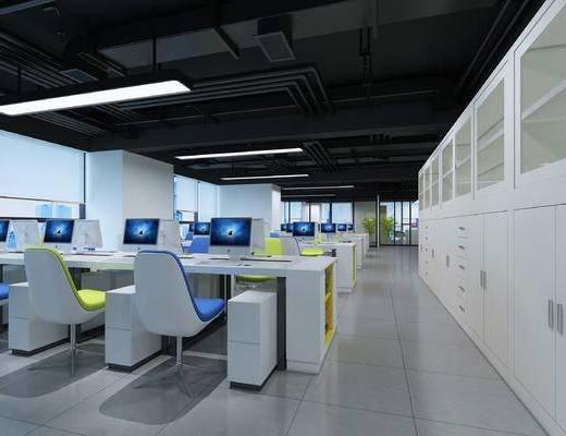 员工办公室, 文件柜, 办公室, 椅子, 桌子, 电脑