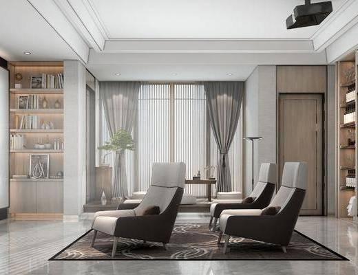 新中式视听室, 沙发椅, 书架, 盆栽, 边柜, 摆件, 新中式