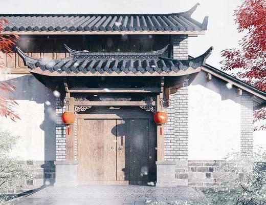 木结构门头, 门面, 门头, 入口大门, 庭院大门