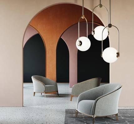 单椅, 单人沙发, 吊灯, 地毯