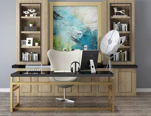 中式书房, 书桌, 单椅, 落地灯, 书架