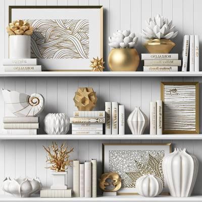 书籍, 瓷器, 装饰画, 工艺品, 花盆, 摆件, 装饰品
