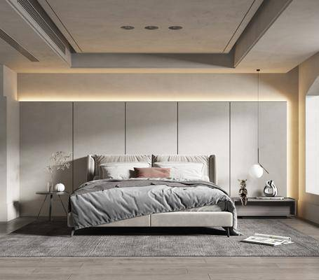 双人床, 床头柜, 台灯, 摆件组合