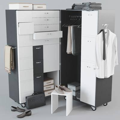 现代, 衣柜, 服装, 衣服, 鞋子, 衣架, 衣柜组合