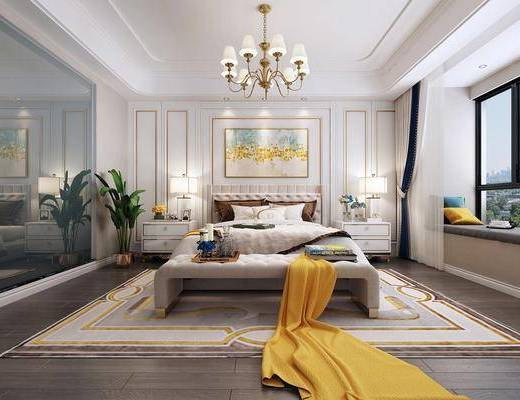 臥室, 床具組合, 臺燈組合, 吊燈, 擺件組合, 歐式