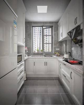 现代厨房, 厨房, 橱柜, 冰箱