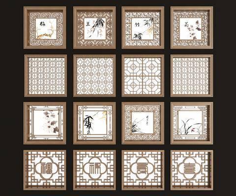 实木花格, 镂花, 新中式, 双十一, 雕花