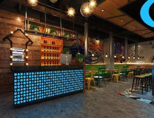 烧烤店, 工业风格, 餐厅, 餐桌椅, 桌椅组合