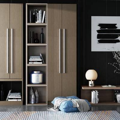 现代书柜组合, 现代, 书柜, 装饰画, 花枝, 花瓶, 摆件