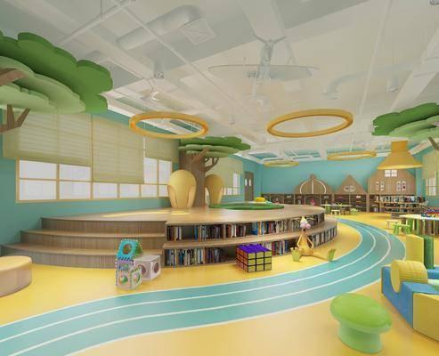 现代, 幼儿园, 书架, 桌子, 椅子, 玩具