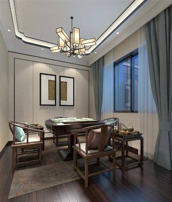 棋牌室, 娛樂室, 麻將桌, 單人椅, 吊燈, 裝飾畫, 掛畫, 圈椅, 墻飾, 新中式