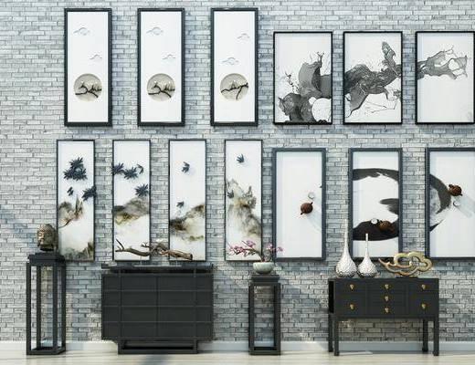 案几, 边柜, 装饰架, 盆栽, 装饰画, 挂画, 照片墙, 摆件, 装饰品, 陈设品, 中式
